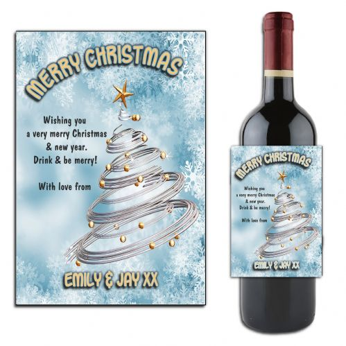 Personalised Christmas  Tree  Wine or Champagne Bottle Label N168